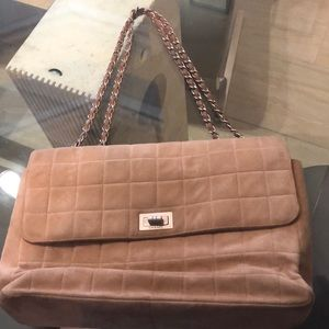 Chanel suede chocolate bar bag